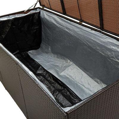 vidaXL Vrtna škatla za shranjevanje poli ratan 180x90x75 cm rjava