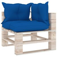 vidaXL Garden Pallet Corner Sofa with Cushions Pinewood (315822+314623)