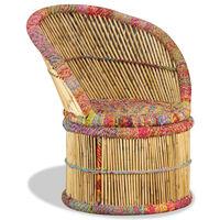 vidaXL Stol iz bambusa s Chindi detajli