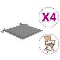vidaXL Blazine za vrtne stole 4 kosi sive 40x40x4 cm