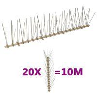 vidaXL Plastične bodice proti pticam in golobom 5-vrst 20 kosov 10 m