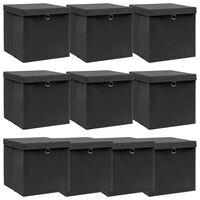 vidaXL Škatle za shranjevanje s pokrovi 10 kosov črne 32x32x32cm blago