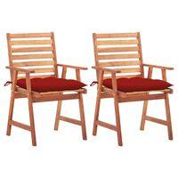 vidaXL Vrtni jedilni stoli 2 kosa z blazinami trden akacijev les
