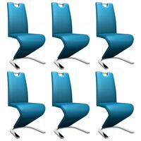 vidaXL Jedilni stoli cikcak oblike 6 kosov modro umetno usnje