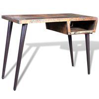 vidaXL Pisalna miza predelan les z železnimi nogami