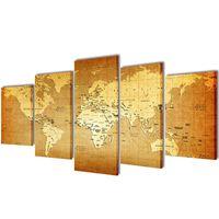 Set platen s printom zemljevida sveta 100 x 50 cm