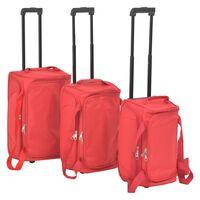 vidaXL Potovalne torbe na kolesih 3 delni komplet rdeče barve
