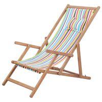 vidaXL Zložljiv stol za na plažo blago in lesen okvir večbarven