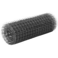 vidaXL Žična mreža za ograjo jeklo s PVC oblogo 25x0,5 m siva
