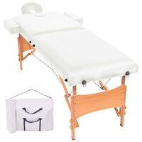 vidaXL 2-conska zložljiva masažna miza debelina 10 cm bela
