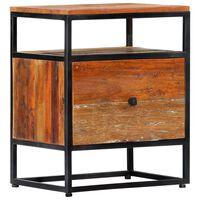 vidaXL Nočna omarica 40x30x50 cm trden predelan les in jeklo