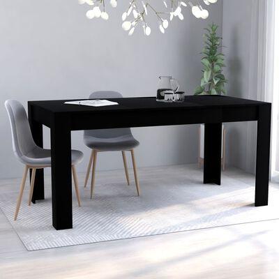 vidaXL Jedilna miza črna 160x80x76 cm iverna plošča