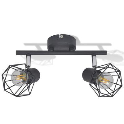 Žični Reflektor v Industrijskem Stilu Črne Barve z 2 LED Žarnicama