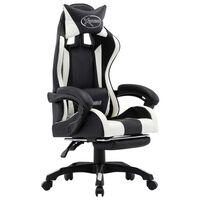 vidaXL Racing stol z oporo za noge belo in črno umetno usnje