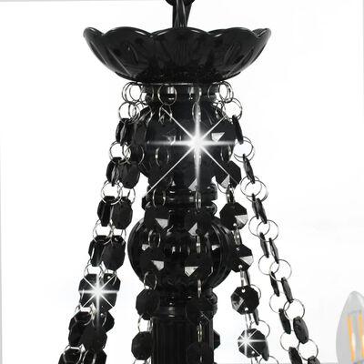 vidaXL Lestenec s kroglicami črn 12 x E14 žarnice
