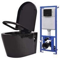 vidaXL Viseča WC školjka z vgradnim kotličkom keramika črna