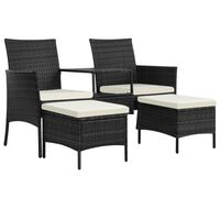 vidaXL Vrtni kavč dvosed z mizico in stolčki poli ratan črn