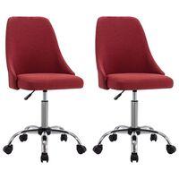 vidaXL Pisarniški stoli s kolesci 2 kosa vinsko rdeče blago