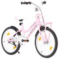 """vidaXL Otroško kolo s prednjim prtljažnikom 20"""" roza in črno"""