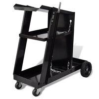 Črn voziček s tremi policami za organizacijo varilskih pripomočkov