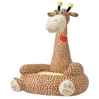 vidaXL Plišasti otroški stol žirafa rjave barve