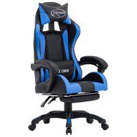 vidaXL Racing stol z oporo za noge modro in črno umetno usnje