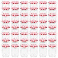 vidaXL Stekleni kozarci z belimi in rdečimi pokrovi 48 kosov 230 ml