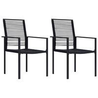 vidaXL Vrtni stoli 2 kosa PVC ratan črne barve
