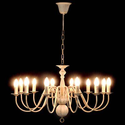 vidaXL Lestenec antično bel 12 x E14 žarnice