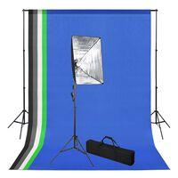 vidaXL Komplet za fotografski studio z ozadjem in s mehčalno lučjo