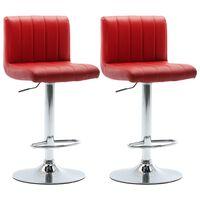 vidaXL Barski stolčki 2 kosa vinsko rdeče umetno usnje