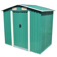 vidaXL Vrtna skladiščna lopa zelena kovinska 204x132x186 cm