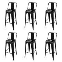vidaXL Barski stolčki 6 kosov črno jeklo