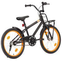 """vidaXL Otroško kolo s prednjim prtljažnikom 20"""" črno in oranžno"""