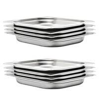 vidaXL Gastronomske posode 8 kosov GN 1/2 40 mm nerjaveče jeklo