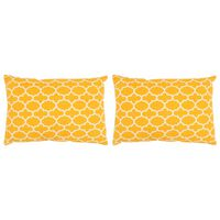 vidaXL Cushions 2 pcs with Pattern Handmade 40x60 cm Yellow