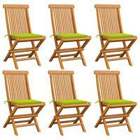 vidaXL Vrtni stoli z živo zelenimi blazinami 6 kosov trdna tikovina