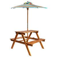 vidaXL Otroška piknik miza s senčnikom 79x90x60 cm trden akacijev les