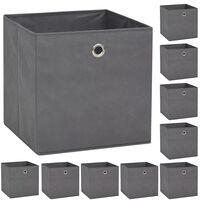 vidaXL Škatle za shranjevanje 10 kosov netkano blago 32x32x32 cm sive