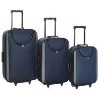 vidaXL Mehki potovalni kovčki 3 kosi mornarsko modri oksford blago