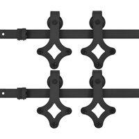 vidaXL Komplet opreme za drsna vrata 2 kosa 183 cm jeklo črne barve