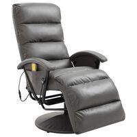 vidaXL Masažni TV fotelj sivo umetno usnje