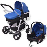 vidaXL Otroški voziček 3 v 1 aluminijast modre in črne barve