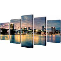 Set platen s printom reke in Brooklynskega mostu 200 x 100 cm