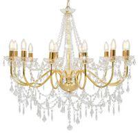 vidaXL Lestenec s kroglicami zlat 12 x E14 žarnice