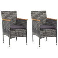vidaXL Vrtni jedilni stoli 2 kosa poli ratan sive barve