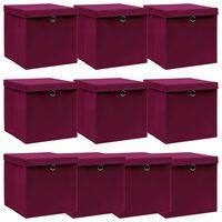 vidaXL Škatle za shranjevanje s pokrovi x 10 rdeče 32x32x32 cm blago