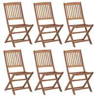vidaXL Zložljivi vrtni stoli 6 kosov trden akacijev les