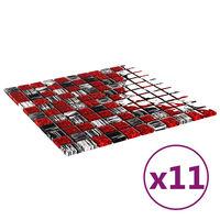 vidaXL Samolepilne mozaik ploščice 11 kosov črne in rdeče 30x30 cm