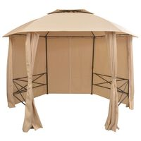 vidaXL Vrtni šotor / paviljon z zavesami šestkoten 360x265 cm